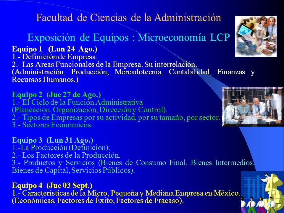 Facultad de Ciencias de la Administración Exposición de Equipos : Microeconomía LCP Equipo 1 (Lun 24 Ago.) 1.- Definición de Empresa.