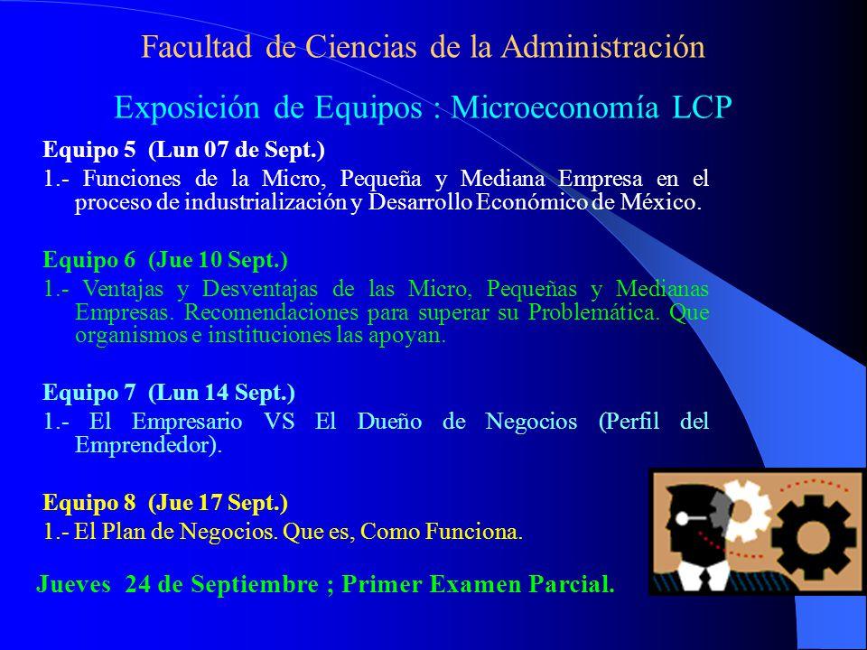 Facultad de Ciencias de la Administración Exposición de Equipos : Microeconomía LCP Equipo 5 (Lun 07 de Sept.) 1.- Funciones de la Micro, Pequeña y Mediana Empresa en el proceso de industrialización y Desarrollo Económico de México.