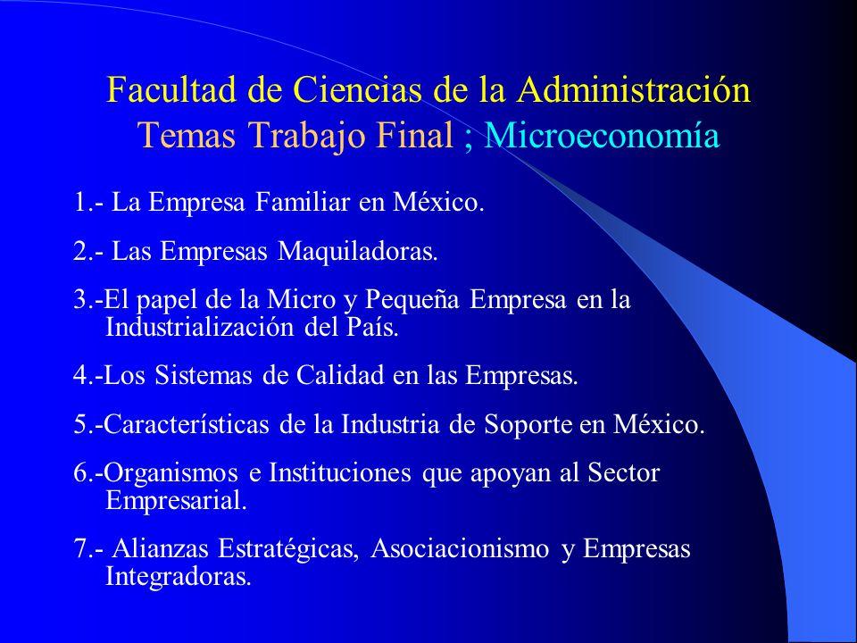 Facultad de Ciencias de la Administración Temas Trabajo Final ; Microeconomía 1.- La Empresa Familiar en México.