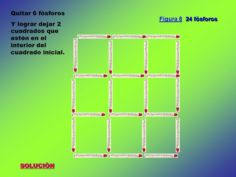 SOLUCIÓN Quitar 6 fósforos Y lograr dejar 2 cuadrados que estén en el interior del cuadrado inicial.