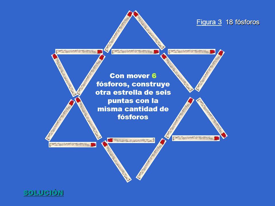 18 fósforos Figura 3 18 fósforos Con mover 6 fósforos, construye otra estrella de seis puntas con la misma cantidad de fósforos SOLUCIÓN