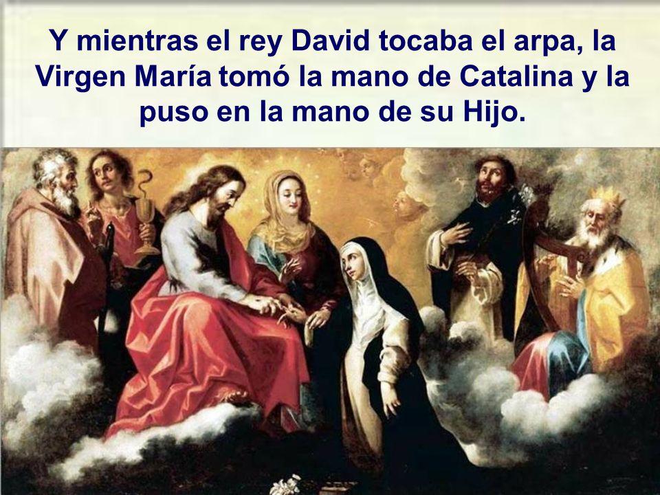 Mientras Jesús hablaba, aparecieron muchos ángeles, san Juan, san Pablo y santo Domingo de Guzmán.
