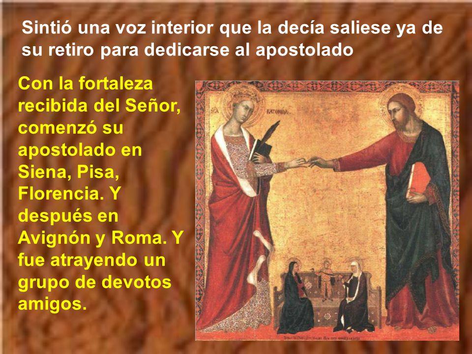 Entonces Jesús puso un anillo de oro en el dedo de Catalina, y dijo: Yo, tu Creador y Salvador, te acepto como esposa y te concedo una fe firme que nunca te fallará.