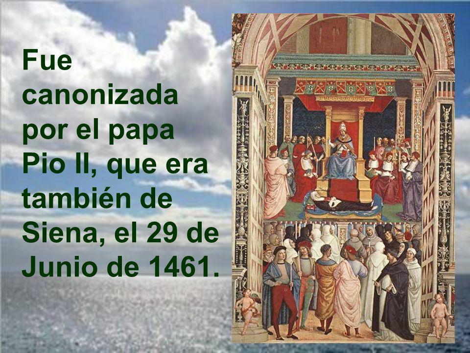 Fue enterrada en Roma, en la iglesia de Minerva, donde puede visitarse su cuerpo que yace bajo el altar.