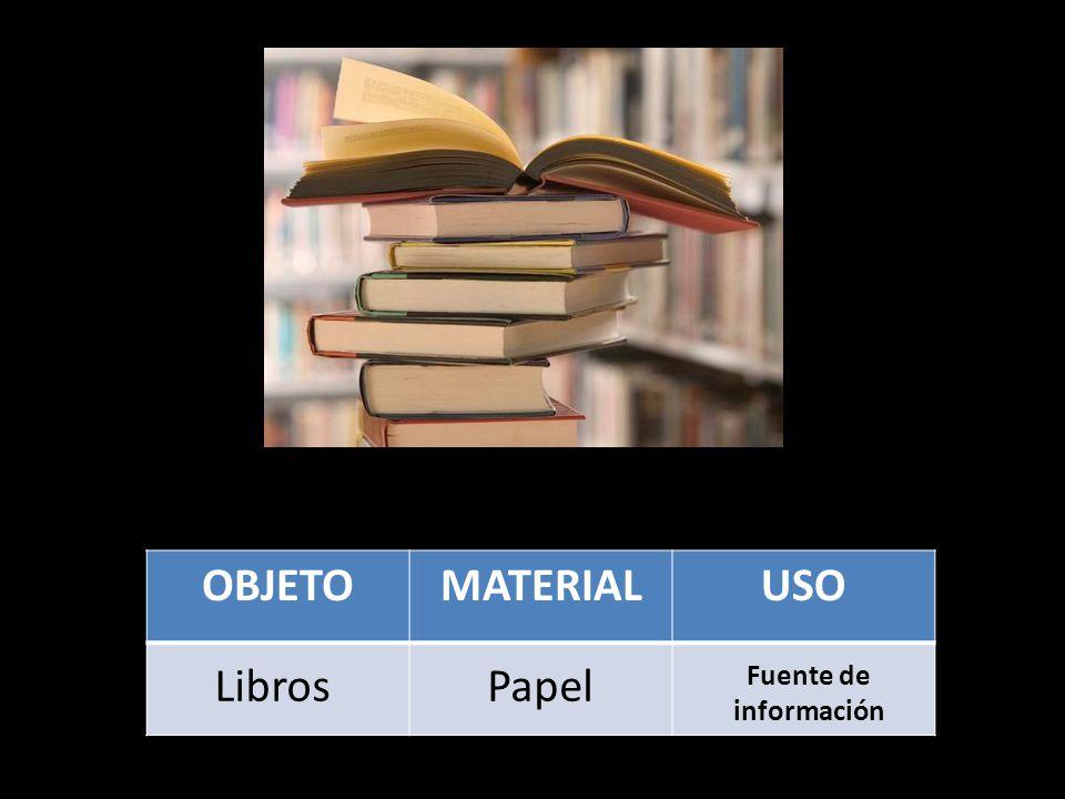 OBJETOMATERIALUSO LibrosPapel Fuente de información