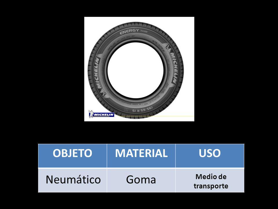 OBJETOMATERIALUSO NeumáticoGoma Medio de transporte