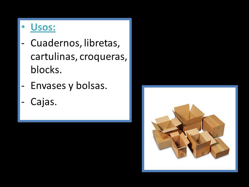 Usos: -Cuadernos, libretas, cartulinas, croqueras, blocks. -Envases y bolsas. -Cajas.