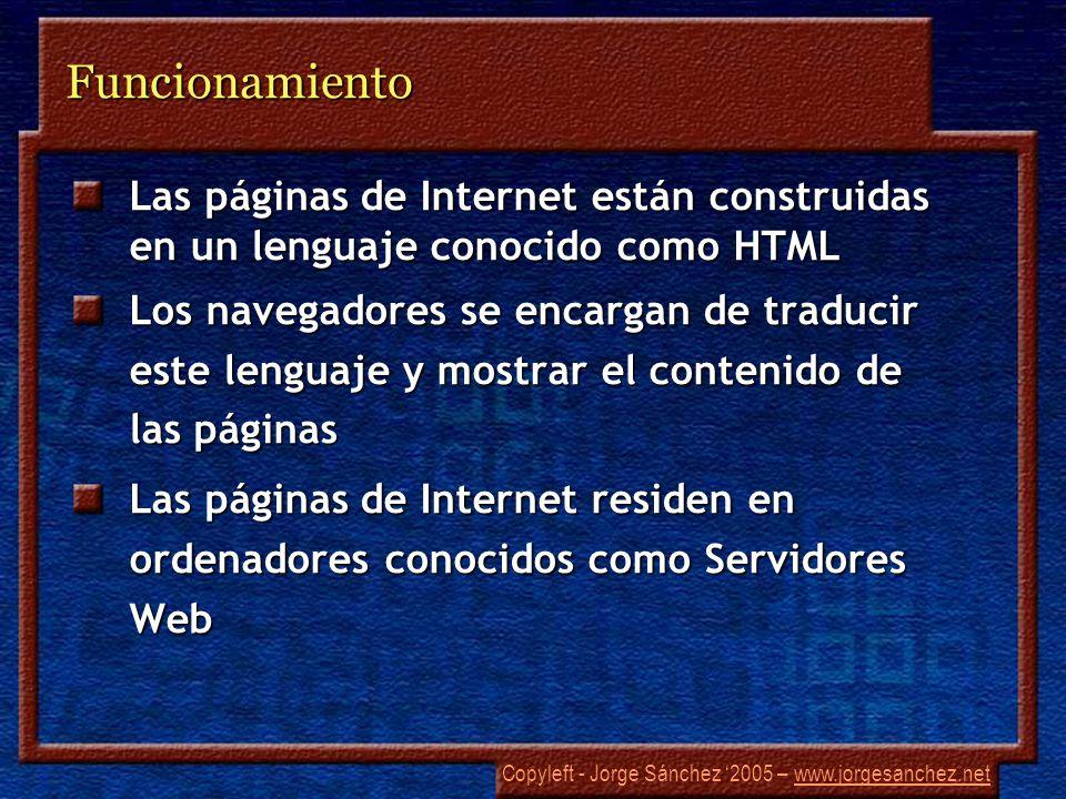 Copyleft - Jorge Sánchez 2005 – www.jorgesanchez.netwww.jorgesanchez.netFuncionamiento Las páginas de Internet están construidas en un lenguaje conocido como HTML Los navegadores se encargan de traducir este lenguaje y mostrar el contenido de las páginas Las páginas de Internet residen en ordenadores conocidos como Servidores Web