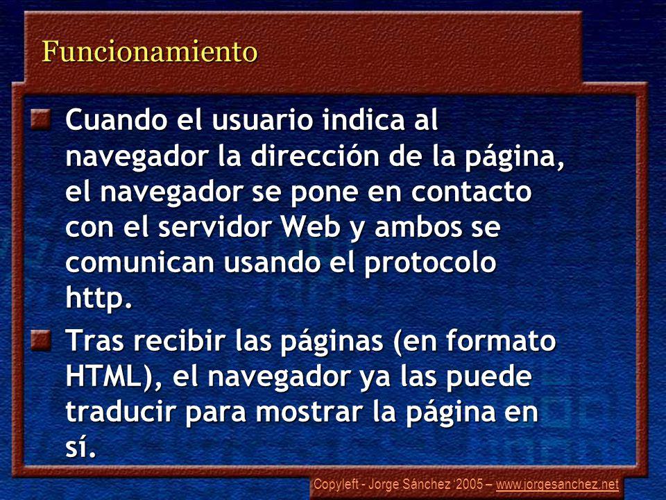 Copyleft - Jorge Sánchez 2005 – www.jorgesanchez.netwww.jorgesanchez.netFuncionamiento Cuando el usuario indica al navegador la dirección de la página, el navegador se pone en contacto con el servidor Web y ambos se comunican usando el protocolo http.
