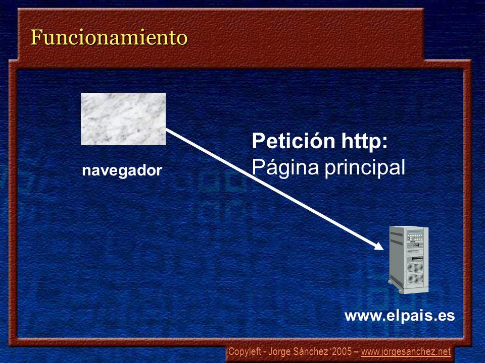 Copyleft - Jorge Sánchez 2005 – www.jorgesanchez.netwww.jorgesanchez.netFuncionamiento navegador www.elpais.es Petición http: Página principal