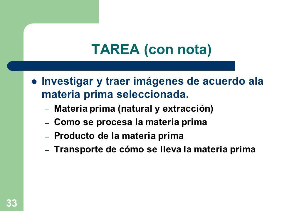 33 TAREA (con nota) Investigar y traer imágenes de acuerdo ala materia prima seleccionada.