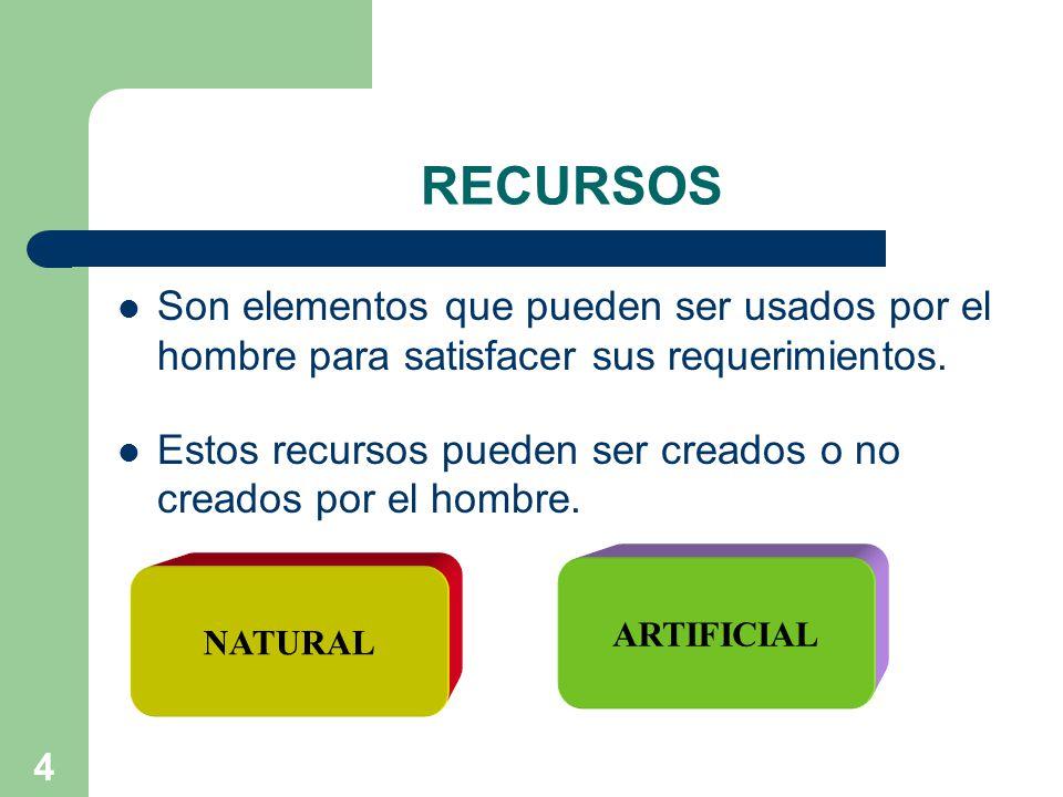 4 RECURSOS Son elementos que pueden ser usados por el hombre para satisfacer sus requerimientos.