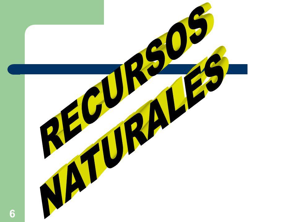 7 RECURSOS NATURALES Son un conjunto de materiales y fuentes energéticas, disponibles en el ambiente.