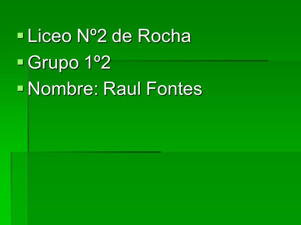 Liceo Nº2 de Rocha Liceo Nº2 de Rocha Grupo 1º2 Grupo 1º2 Nombre: Raul Fontes Nombre: Raul Fontes