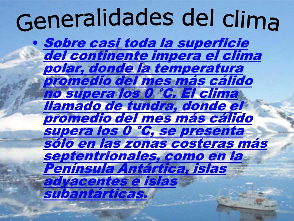 Sobre casi toda la superficie del continente impera el clima polar, donde la temperatura promedio del mes más cálido no supera los 0 °C. El clima llam
