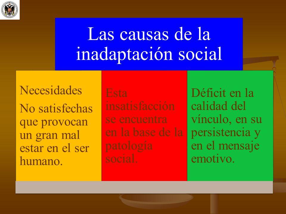 Las causas de la inadaptación social Necesidades No satisfechas que provocan un gran mal estar en el ser humano. Esta insatisfacción se encuentra en l