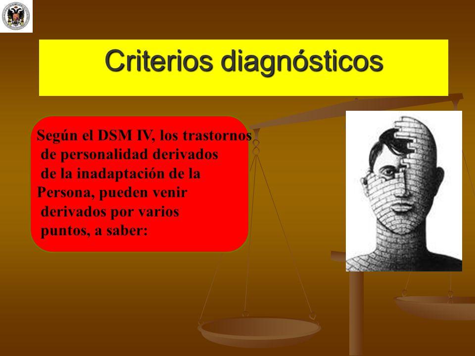 Criterios diagnósticos Según el DSM IV, los trastornos de personalidad derivados de la inadaptación de la Persona, pueden venir derivados por varios p