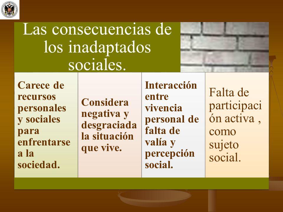 Las consecuencias de los inadaptados sociales. Carece de recursos personales y sociales para enfrentarse a la sociedad. Considera negativa y desgracia