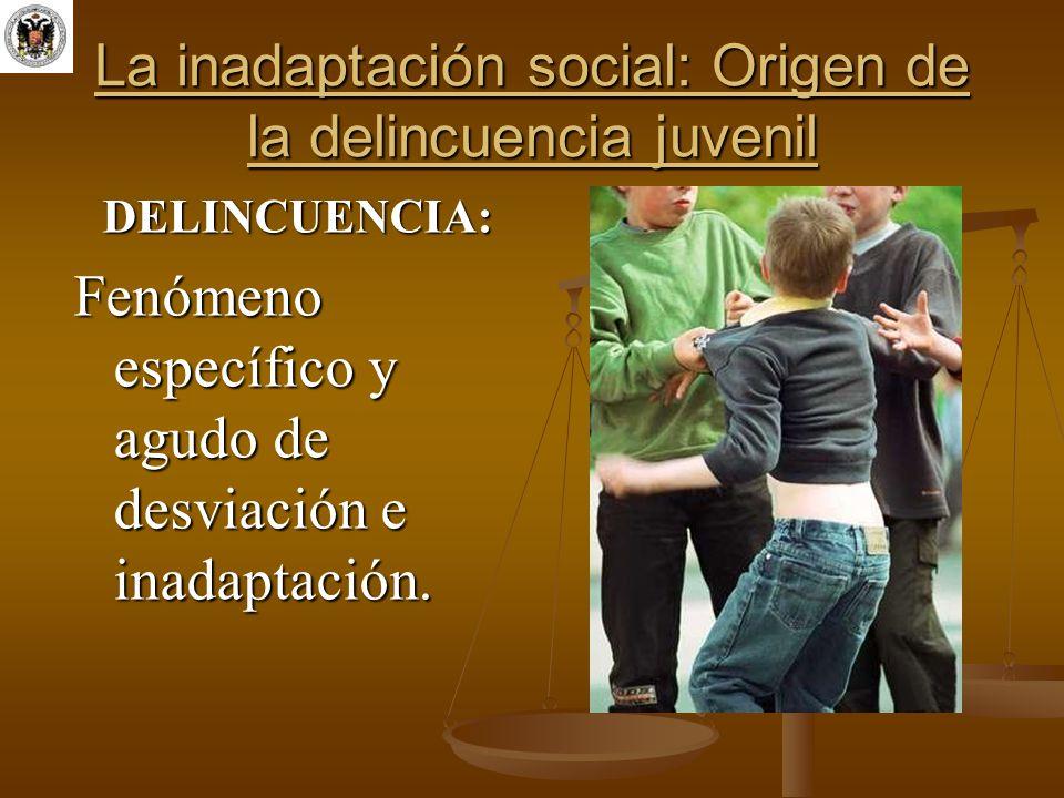 La inadaptación social: Origen de la delincuencia juvenil DELINCUENCIA: Fenómeno específico y agudo de desviación e inadaptación.