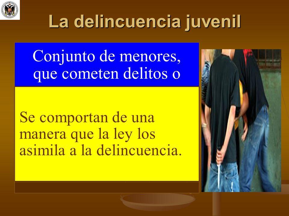 La delincuencia juvenil Conjunto de menores, que cometen delitos o Se comportan de una manera que la ley los asimila a la delincuencia.