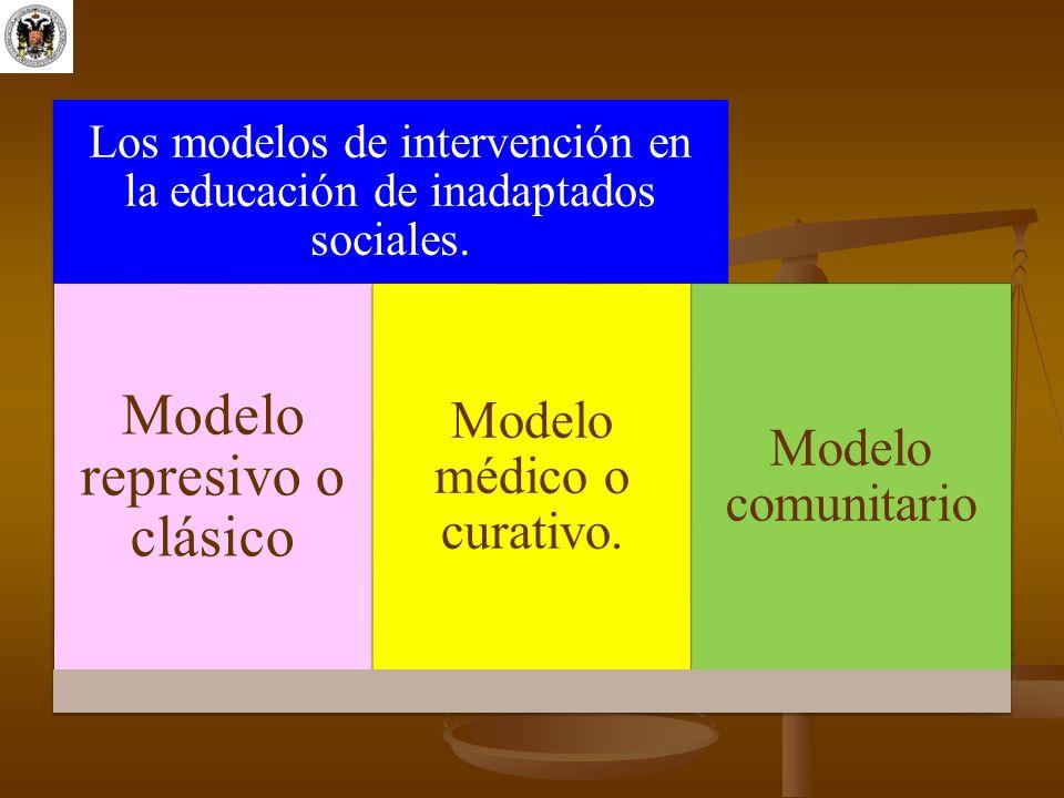Los modelos de intervención en la educación de inadaptados sociales. Modelo represivo o clásico Modelo médico o curativo. Modelo comunitario