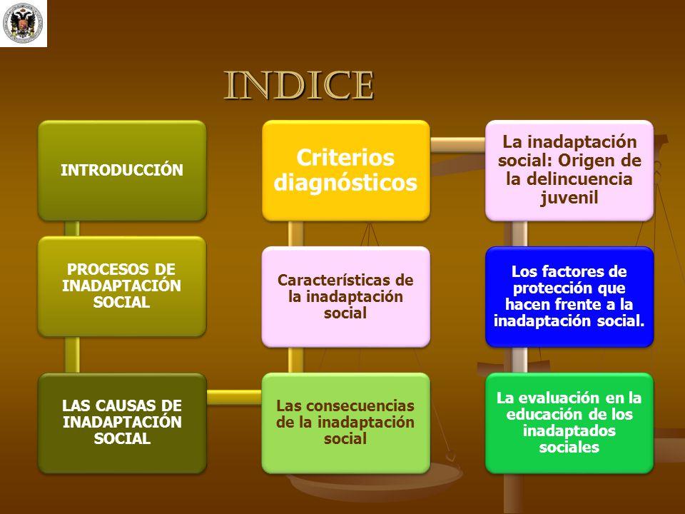 INDICE INTRODUCCIÓN PROCESOS DE INADAPTACIÓN SOCIAL LAS CAUSAS DE INADAPTACIÓN SOCIAL Las consecuencias de la inadaptación social Características de l
