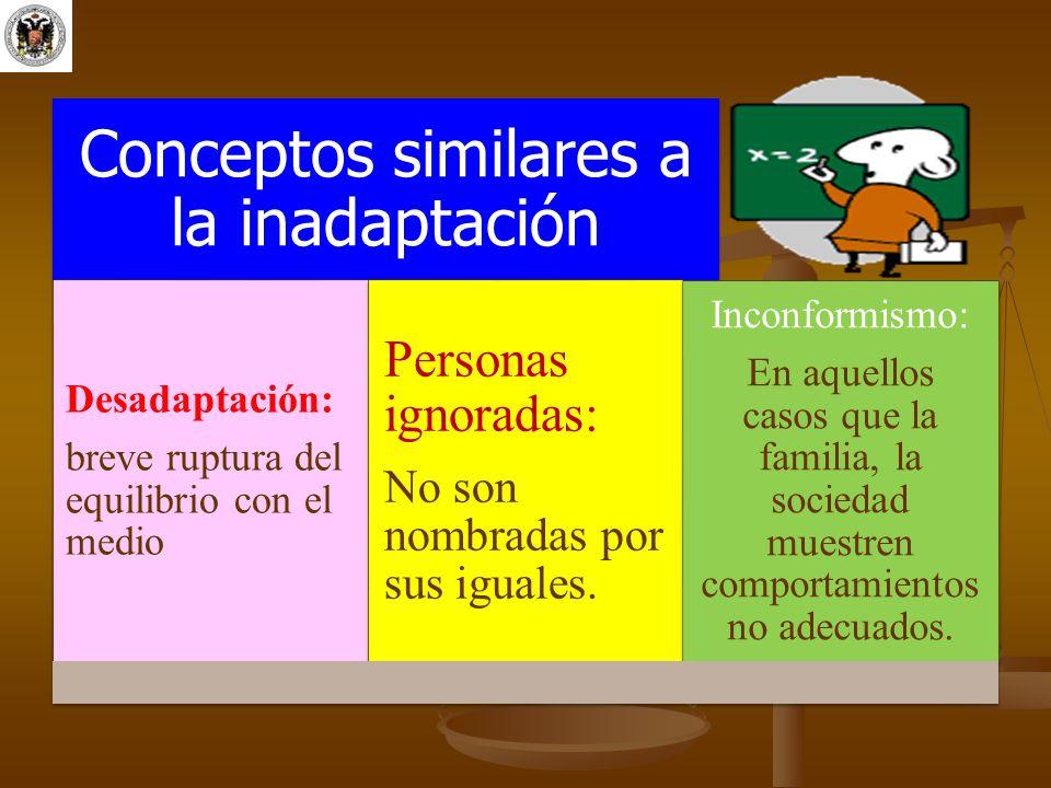 Conceptos similares a la inadaptación Desadaptación: breve ruptura del equilibrio con el medio Personas ignoradas: No son nombradas por sus iguales. I