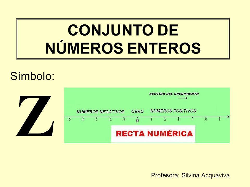 CONJUNTO DE NÚMEROS ENTEROS Símbolo: Profesora: Silvina Acquaviva