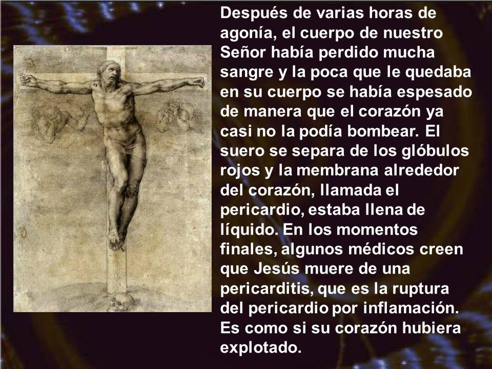 Finalmente, el mecanismo de muerte por crucifixión era la sofocación. Para respirar, la víctima era forzada a empujarse sobre sus pies para permitir q
