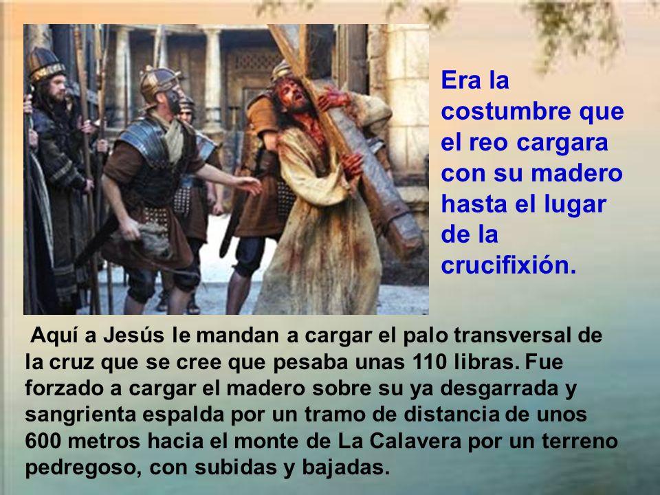 Aquí a Jesús le mandan a cargar el palo transversal de la cruz que se cree que pesaba unas 110 libras.