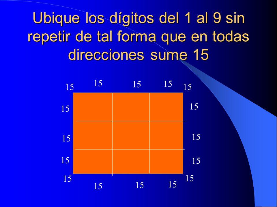 Ubique los dígitos del 1 al 9 sin repetir de tal forma que en todas direcciones sume 15 15