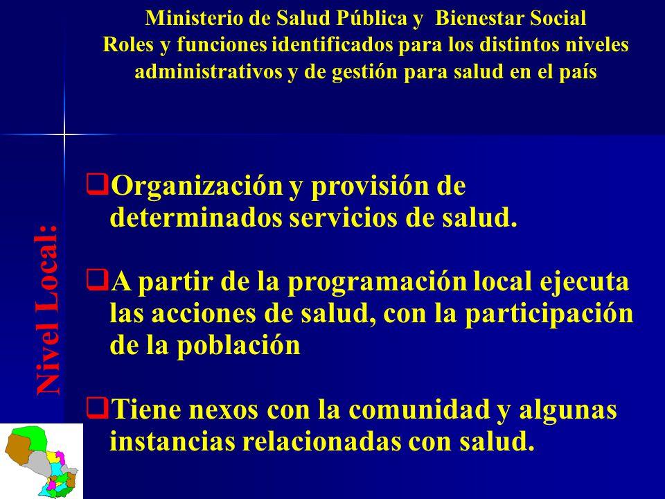 Ministerio de Salud Pública y Bienestar Social Roles y funciones identificados para los distintos niveles administrativos y de gestión para salud en e