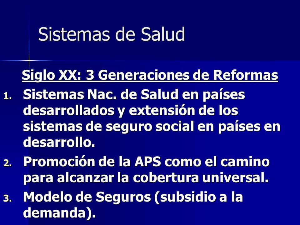 Sistemas de Salud Siglo XX: 3 Generaciones de Reformas 1. Sistemas Nac. de Salud en países desarrollados y extensión de los sistemas de seguro social