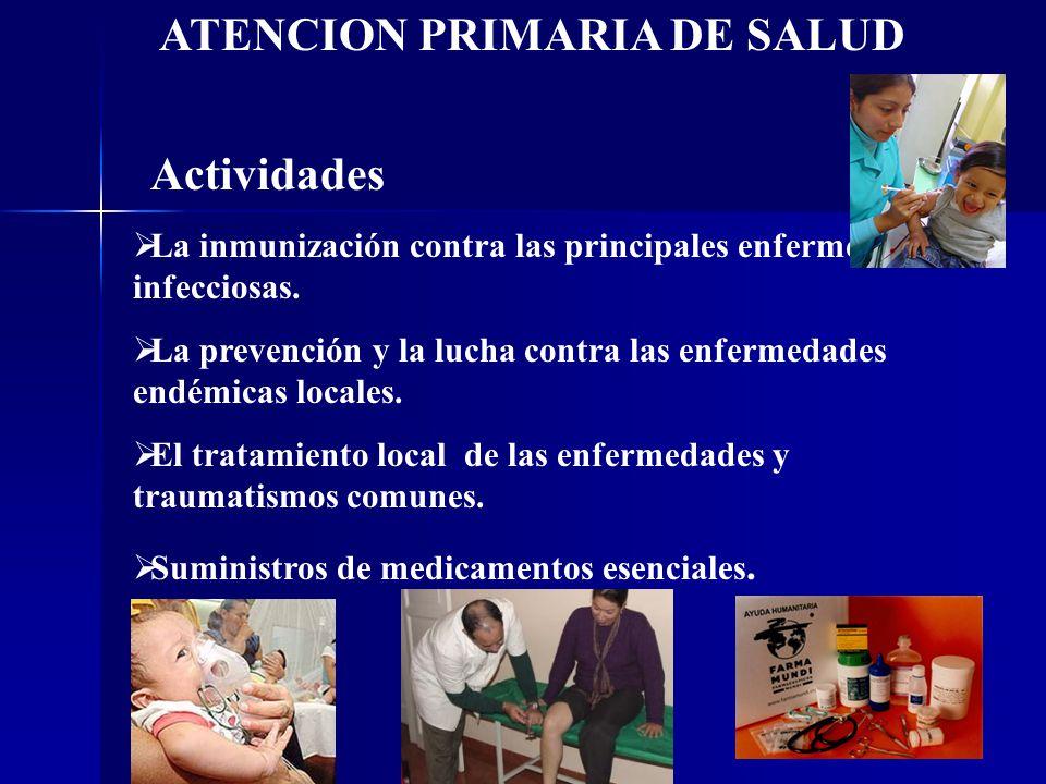 La inmunización contra las principales enfermedades infecciosas. La prevención y la lucha contra las enfermedades endémicas locales. El tratamiento lo