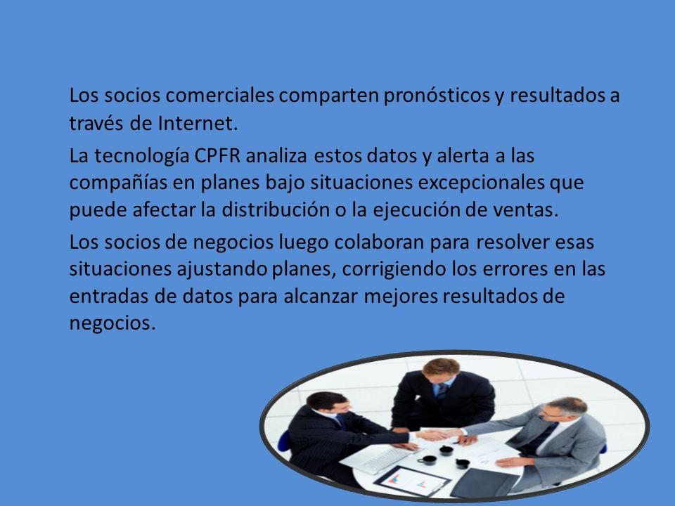 Los socios comerciales comparten pronósticos y resultados a través de Internet. La tecnología CPFR analiza estos datos y alerta a las compañías en pla