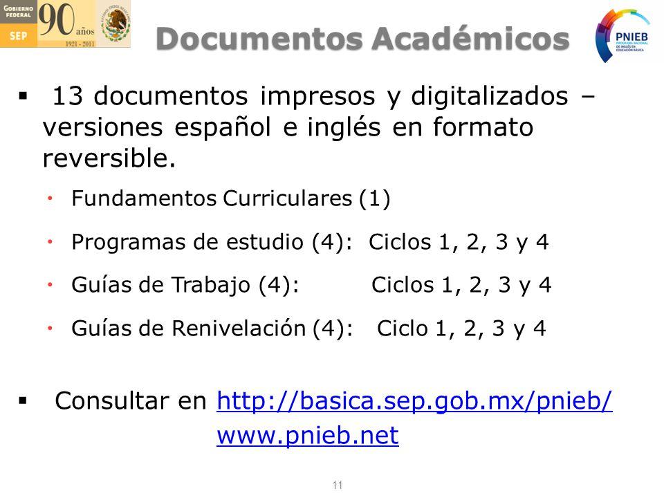 Documentos Académicos 13 documentos impresos y digitalizados – versiones español e inglés en formato reversible.