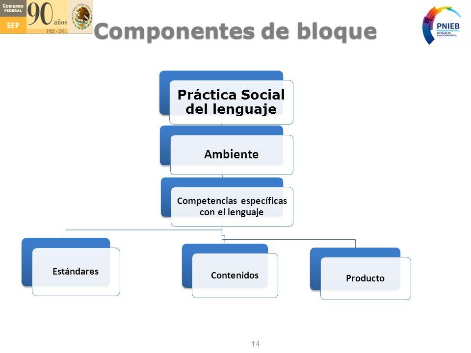 Práctica Social del lenguaje Ambiente Competencias específicas con el lenguaje Estándares Contenidos Producto Componentes de bloque 14
