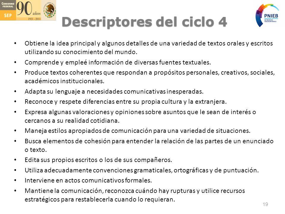Descriptores del ciclo 4 Obtiene la idea principal y algunos detalles de una variedad de textos orales y escritos utilizando su conocimiento del mundo.