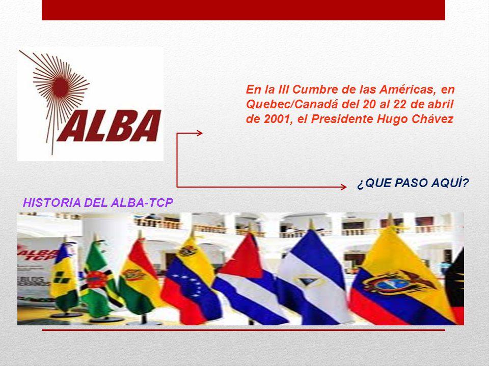 HISTORIA DEL ALBA-TCP En la III Cumbre de las Américas, en Quebec/Canadá del 20 al 22 de abril de 2001, el Presidente Hugo Chávez ¿QUE PASO AQUÍ?