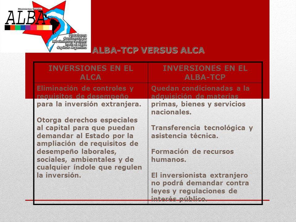 ALBA-TCP VERSUS ALCA INVERSIONES EN EL ALCA INVERSIONES EN EL ALBA-TCP Eliminación de controles y requisitos de desempeño para la inversión extranjera
