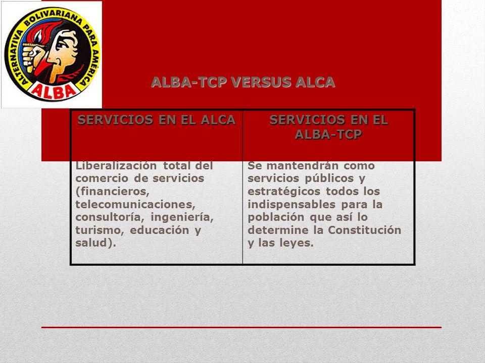 ALBA-TCP VERSUS ALCA SERVICIOS EN EL ALCA SERVICIOS EN EL ALBA-TCP Liberalización total del comercio de servicios (financieros, telecomunicaciones, co