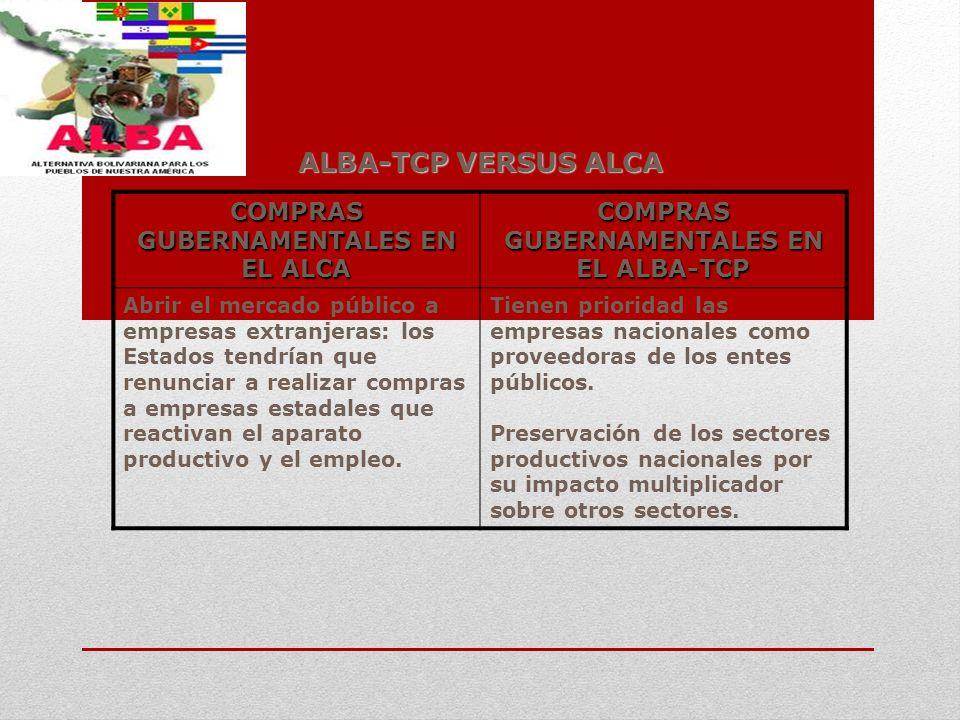 ALBA-TCP VERSUS ALCA COMPRAS GUBERNAMENTALES EN EL ALCA COMPRAS GUBERNAMENTALES EN EL ALBA-TCP Abrir el mercado público a empresas extranjeras: los Es