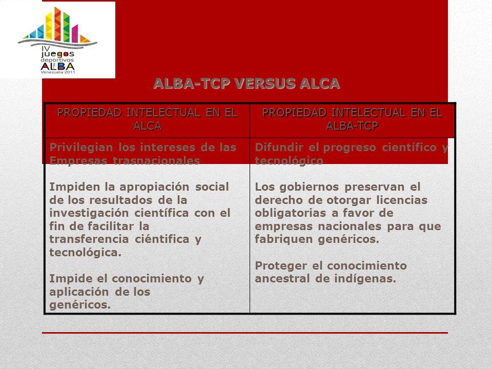 ALBA-TCP VERSUS ALCA PROPIEDAD INTELECTUAL EN EL ALCA PROPIEDAD INTELECTUAL EN EL ALBA-TCP Privilegian los intereses de las Empresas trasnacionales Im