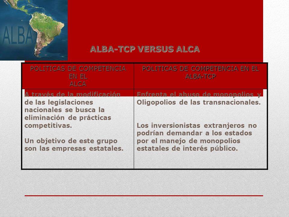 ALBA-TCP VERSUS ALCA POLITICAS DE COMPETENCIA EN EL ALCA ALBA-TCP A través de la modificación de las legislaciones nacionales se busca la eliminación