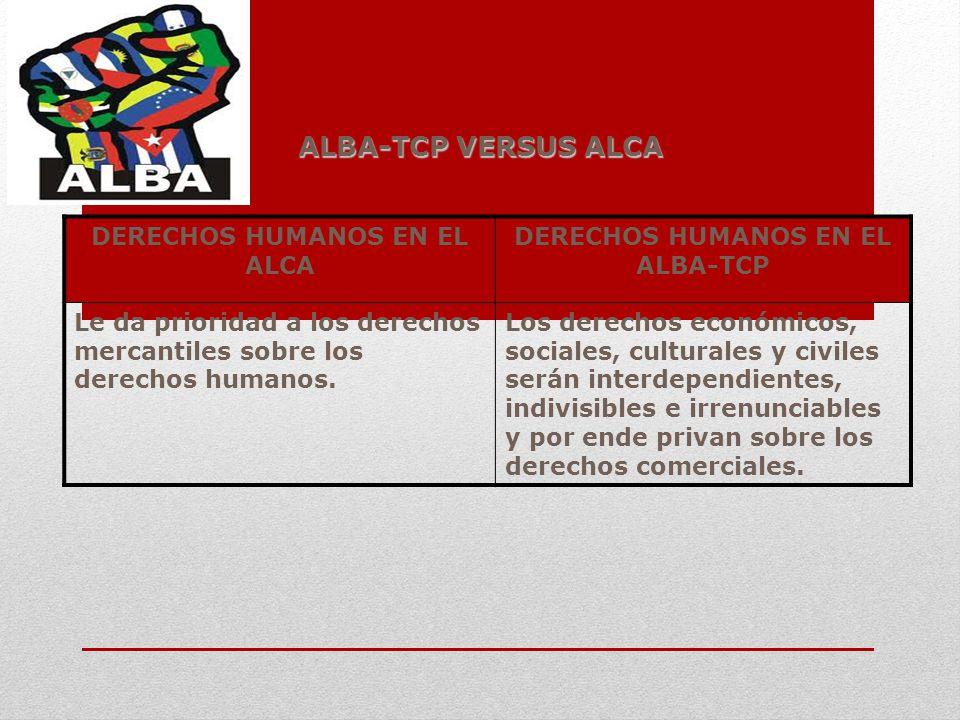 ALBA-TCP VERSUS ALCA DERECHOS HUMANOS EN EL ALCA DERECHOS HUMANOS EN EL ALBA-TCP Le da prioridad a los derechos mercantiles sobre los derechos humanos