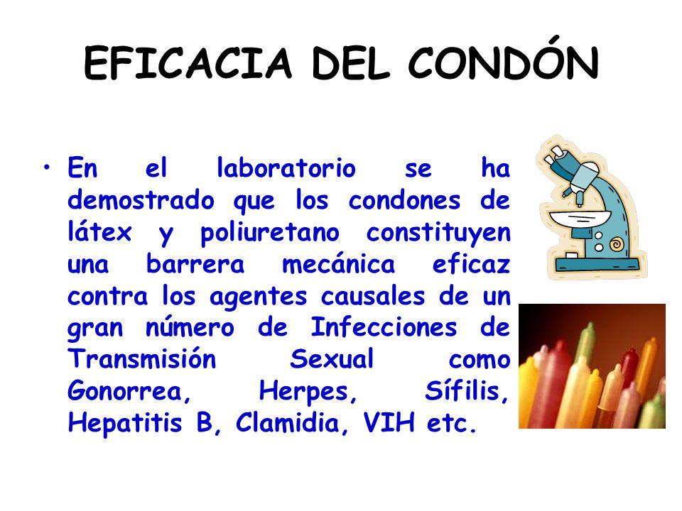 EFICACIA DEL CONDÓN En el laboratorio se ha demostrado que los condones de látex y poliuretano constituyen una barrera mecánica eficaz contra los agen