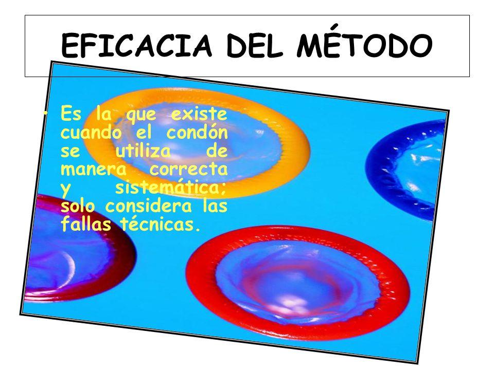 EFICACIA DEL MÉTODO Es la que existe cuando el condón se utiliza de manera correcta y sistemática; solo considera las fallas técnicas.