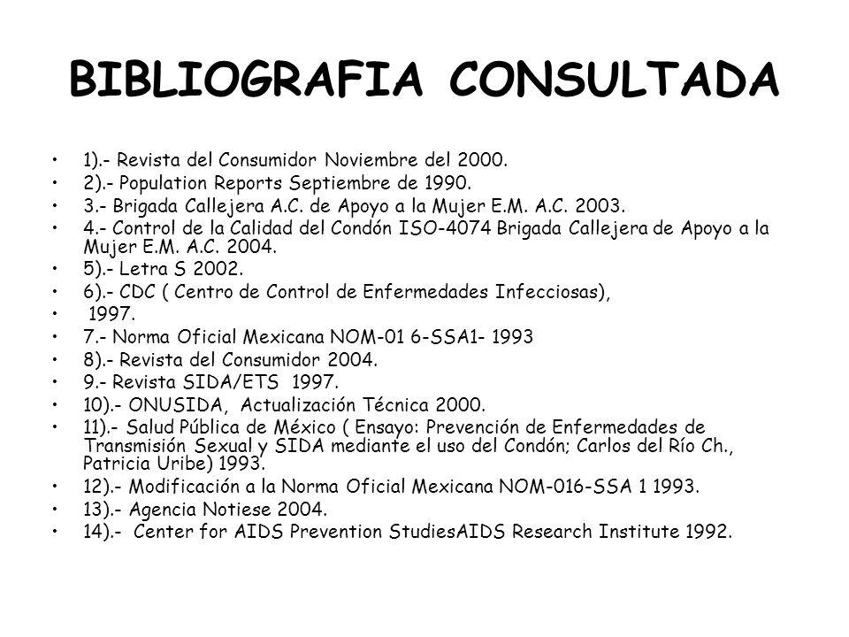BIBLIOGRAFIA CONSULTADA 1).- Revista del Consumidor Noviembre del 2000. 2).- Population Reports Septiembre de 1990. 3.- Brigada Callejera A.C. de Apoy