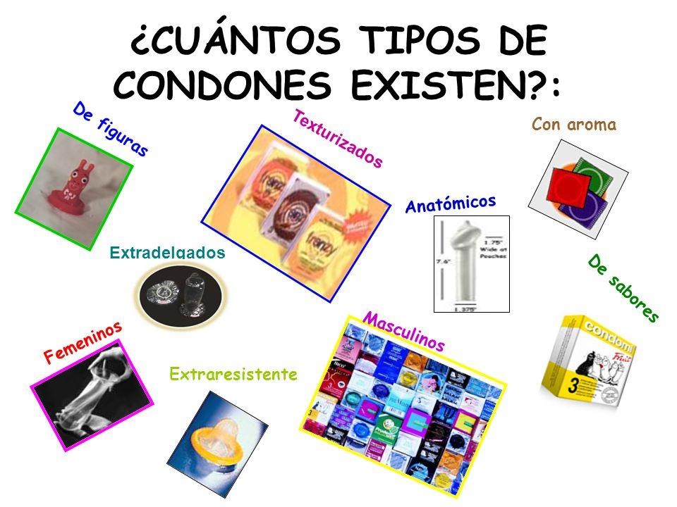 ¿CUÁNTOS TIPOS DE CONDONES EXISTEN?: De figuras Texturizados De sabores Femeninos Masculinos Anatómicos Con aroma Extraresistente Extradelgados