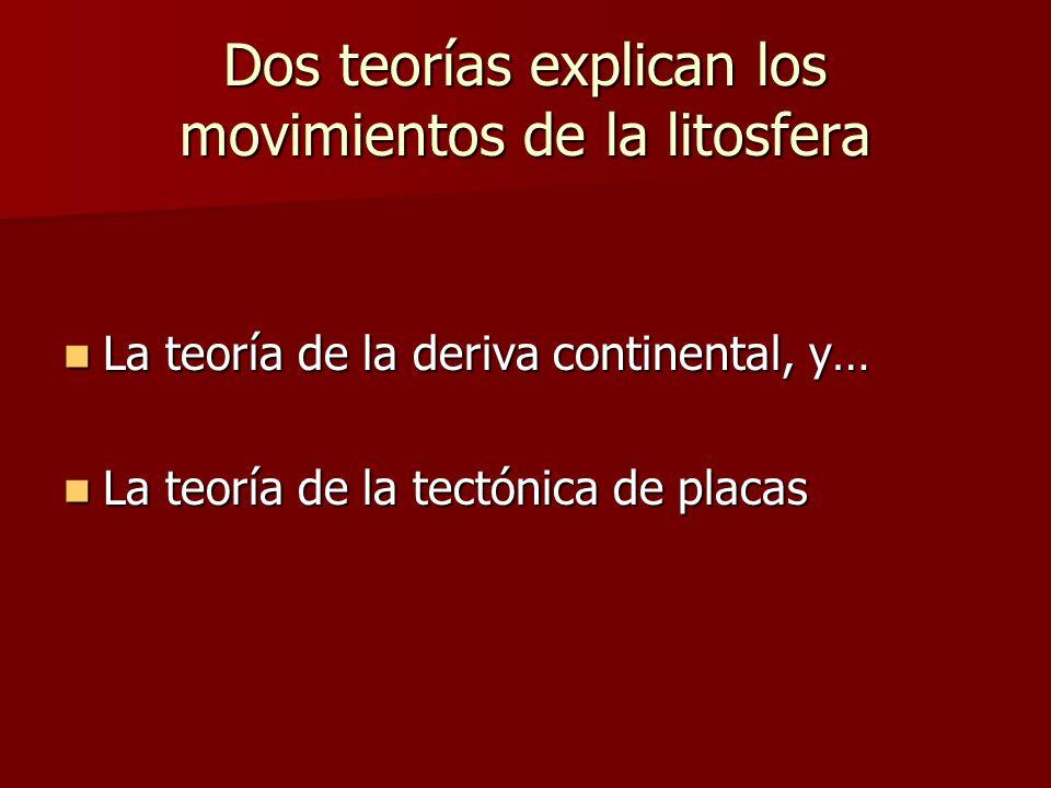 Dos teorías explican los movimientos de la litosfera La teoría de la deriva continental, y… La teoría de la deriva continental, y… La teoría de la tec